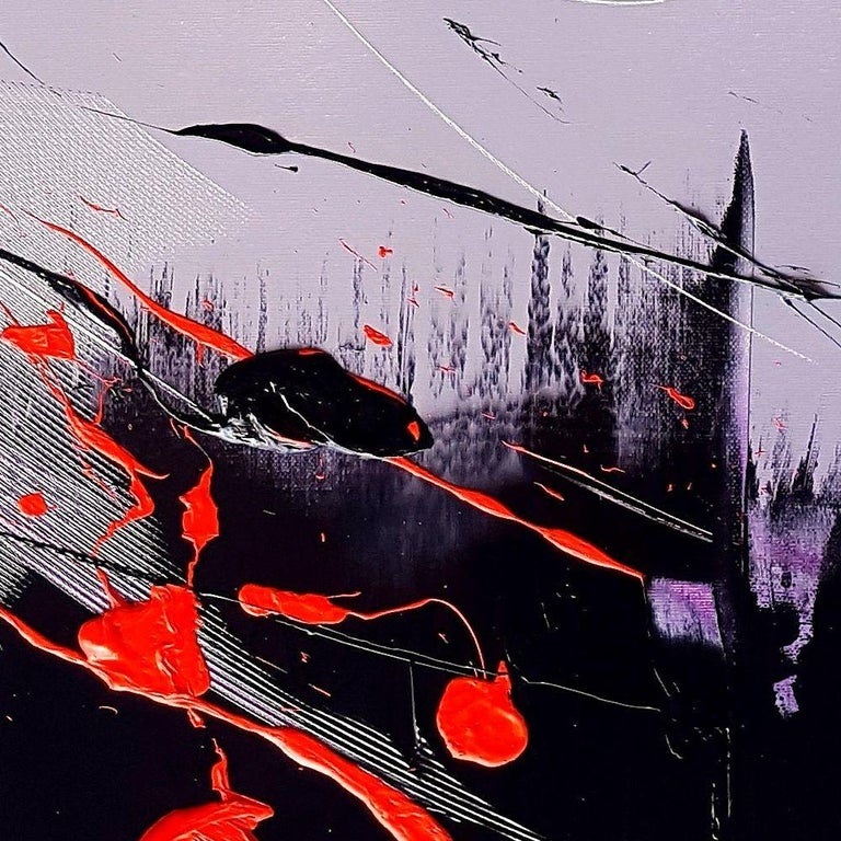 Black, Light Mauve and Red Abstract Oil Painting For Sale 7