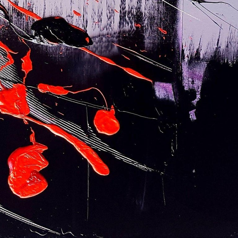 Black, Light Mauve and Red Abstract Oil Painting For Sale 10