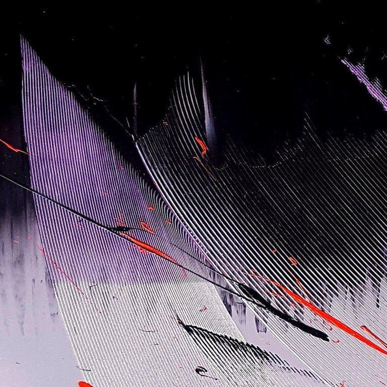 Black, Light Mauve and Red Abstract Oil Painting For Sale 13