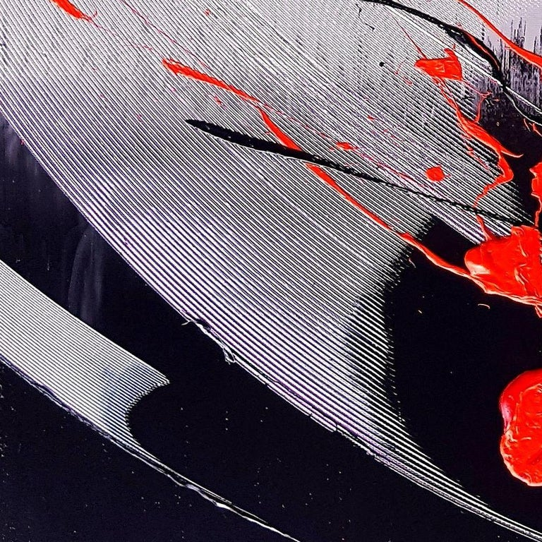 Black, Light Mauve and Red Abstract Oil Painting For Sale 1