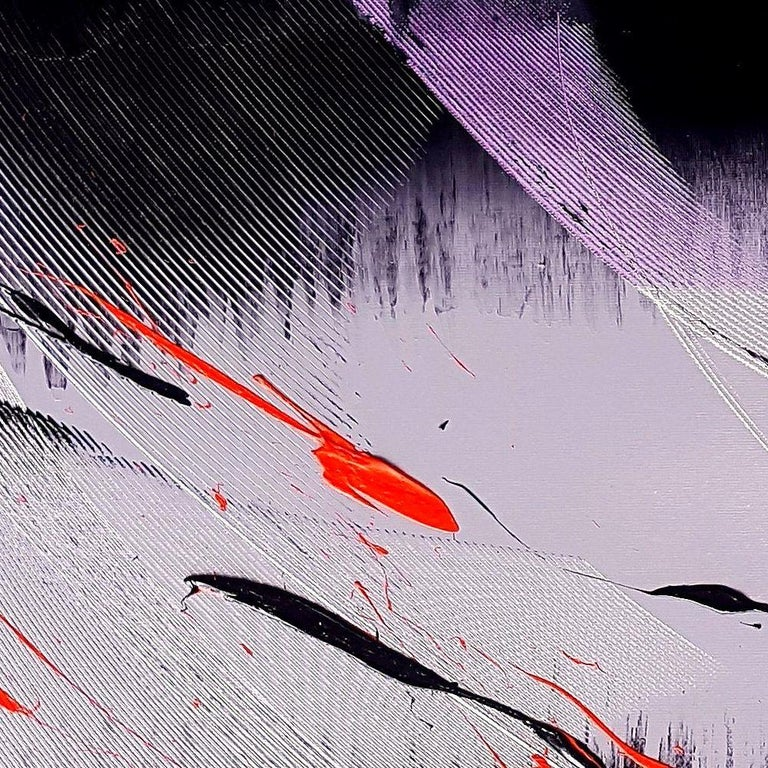 Black, Light Mauve and Red Abstract Oil Painting For Sale 3
