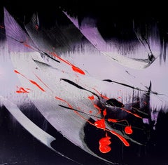 Black, Light Mauve and Red Abstract Oil Painting