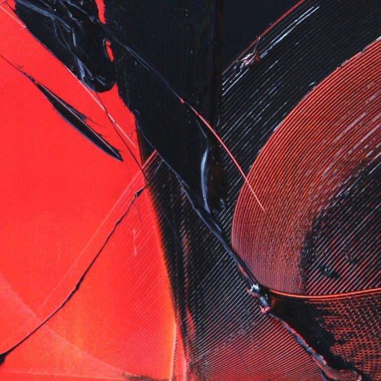 Black on Red Abstract Oil Painting For Sale 8