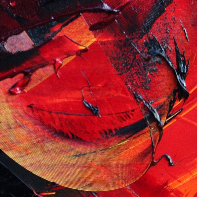 Black on Red Abstract Oil Painting 10