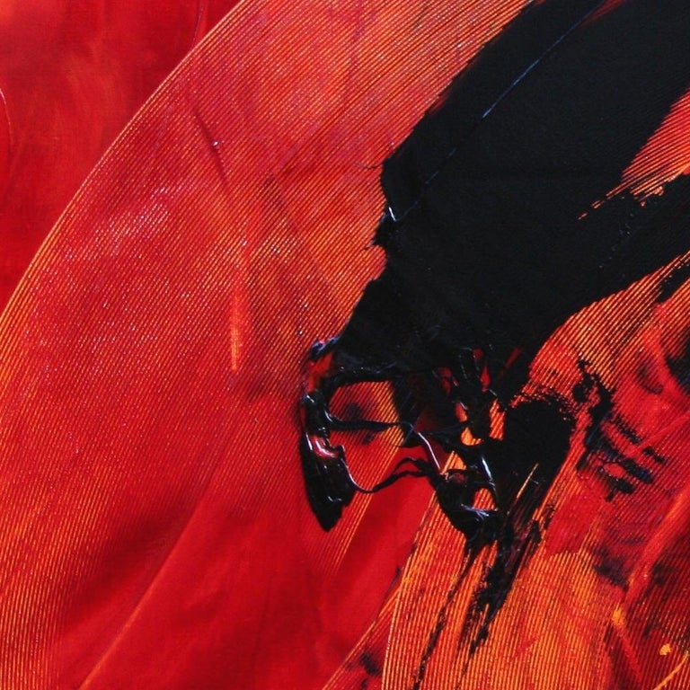 Black on Red Abstract Oil Painting 11