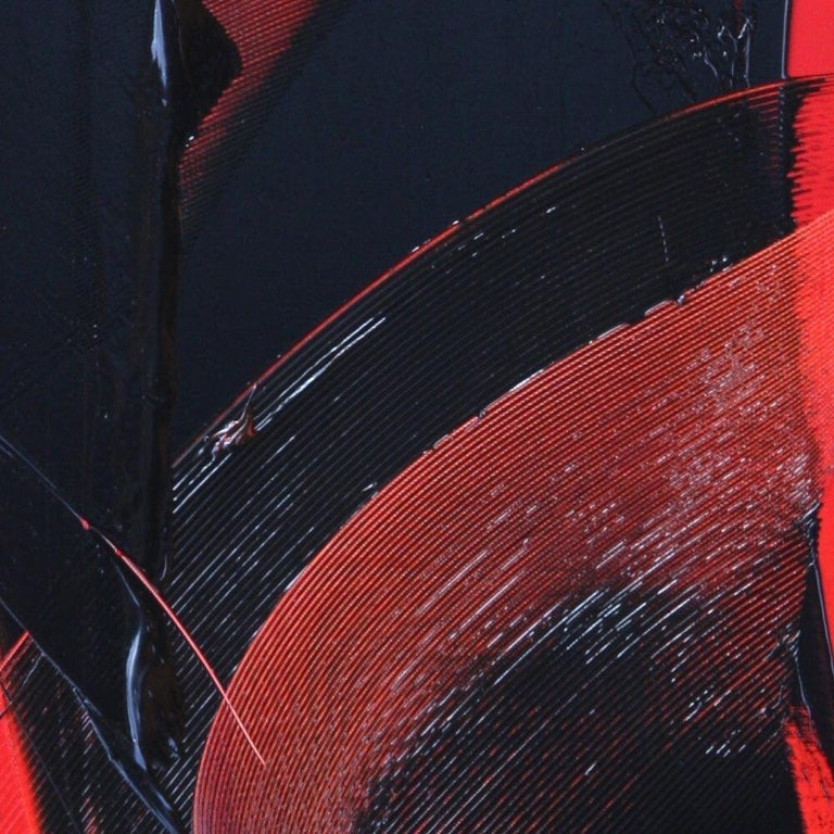 Black on Red Abstract Oil Painting For Sale 10