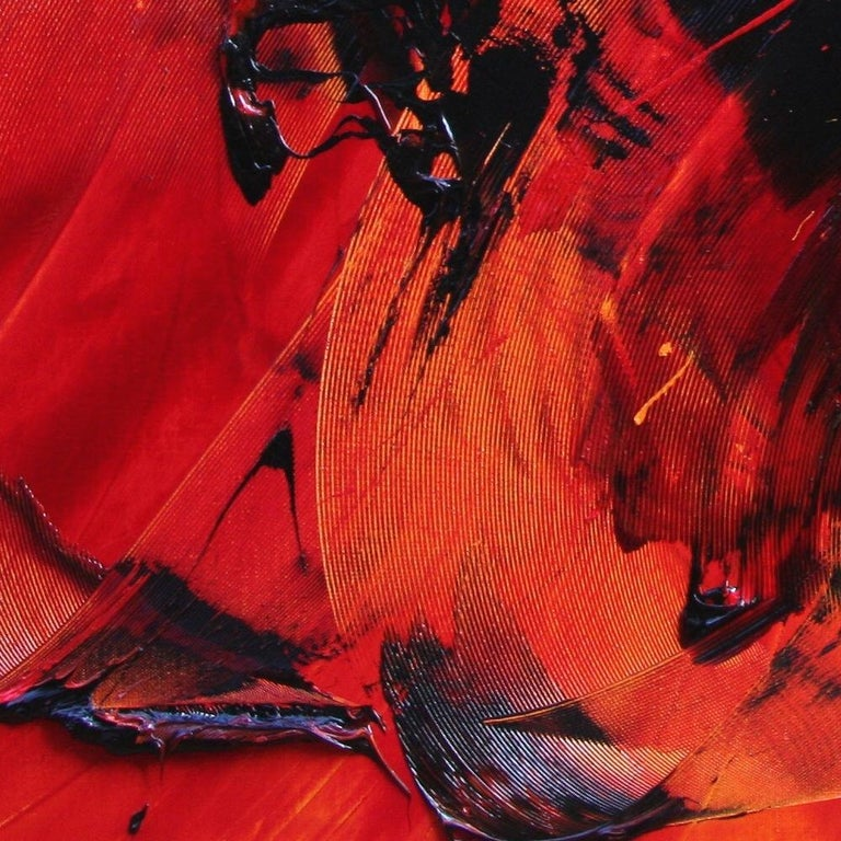 Black on Red Abstract Oil Painting 12