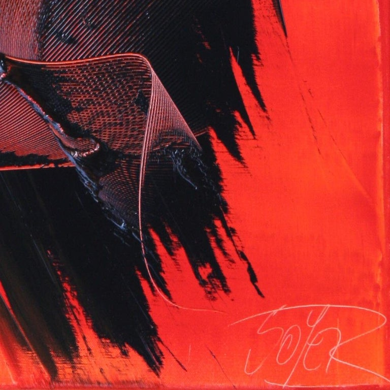 Black on Red Abstract Oil Painting For Sale 11