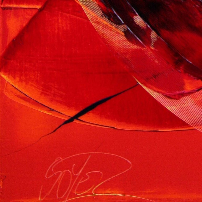 Black on Red Abstract Oil Painting 13