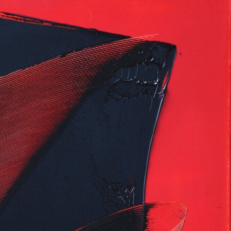 Black on Red Abstract Oil Painting For Sale 13