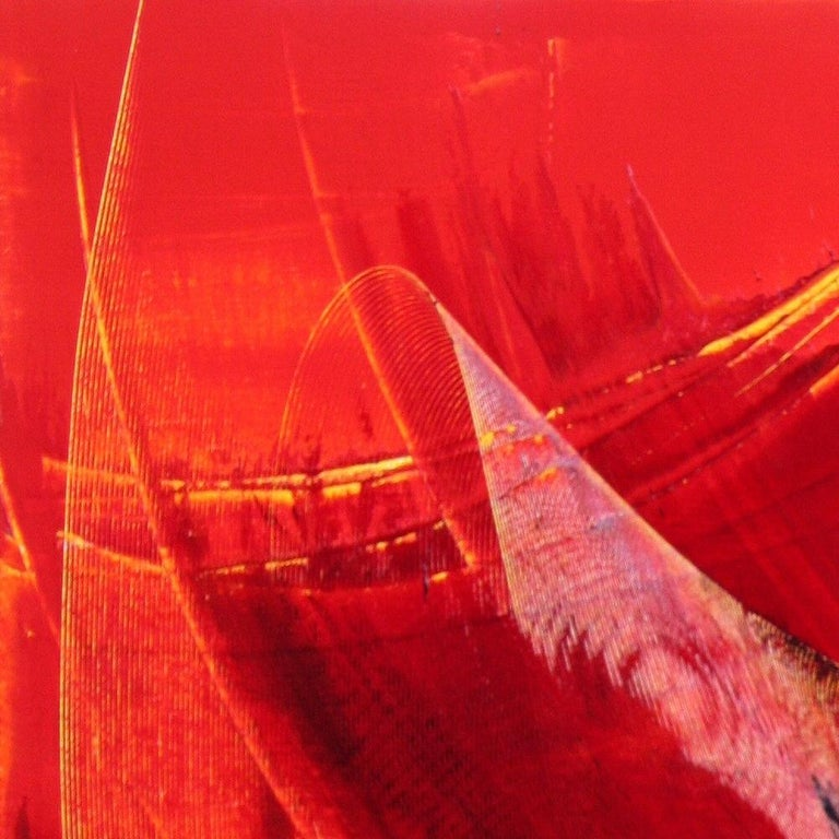Black on Red Abstract Oil Painting 15