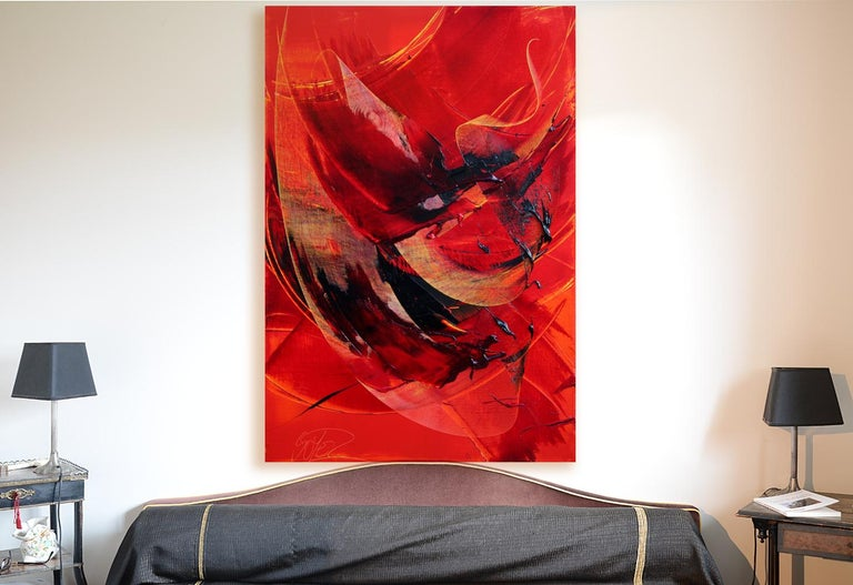 Black on Red Abstract Oil Painting For Sale 14