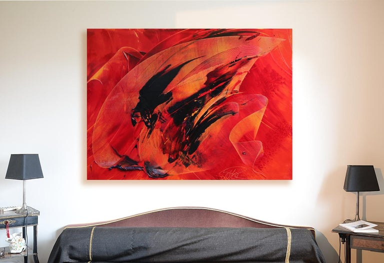 Black on Red Abstract Oil Painting 2