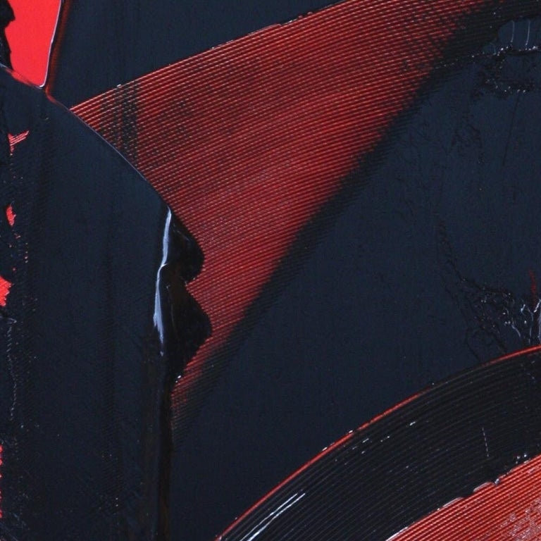 Black on Red Abstract Oil Painting For Sale 1