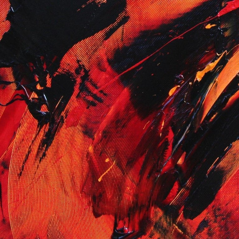 Black on Red Abstract Oil Painting 3