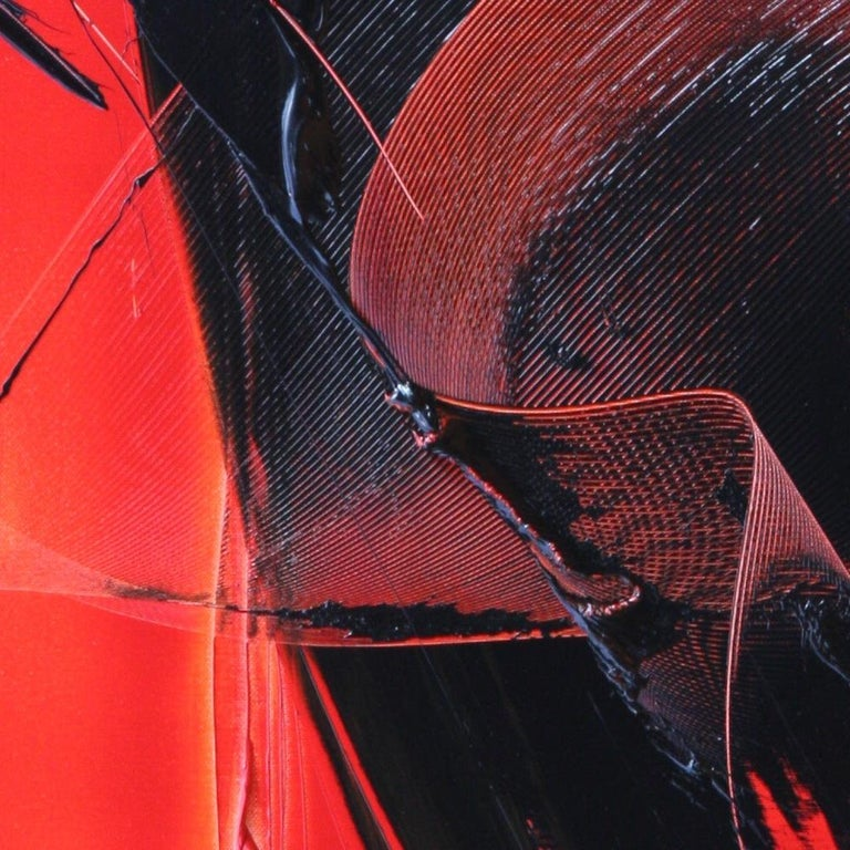 Black on Red Abstract Oil Painting For Sale 2