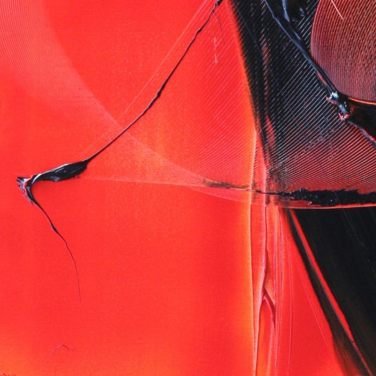 Black on Red Abstract Oil Painting For Sale 3