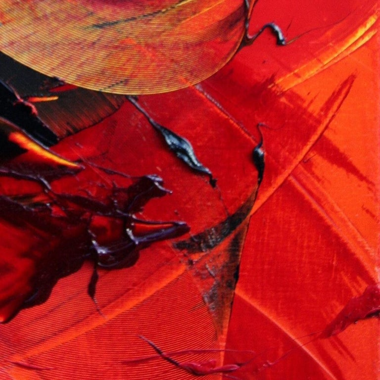Black on Red Abstract Oil Painting 5