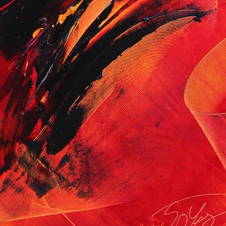 Black on Red Abstract Oil Painting 6