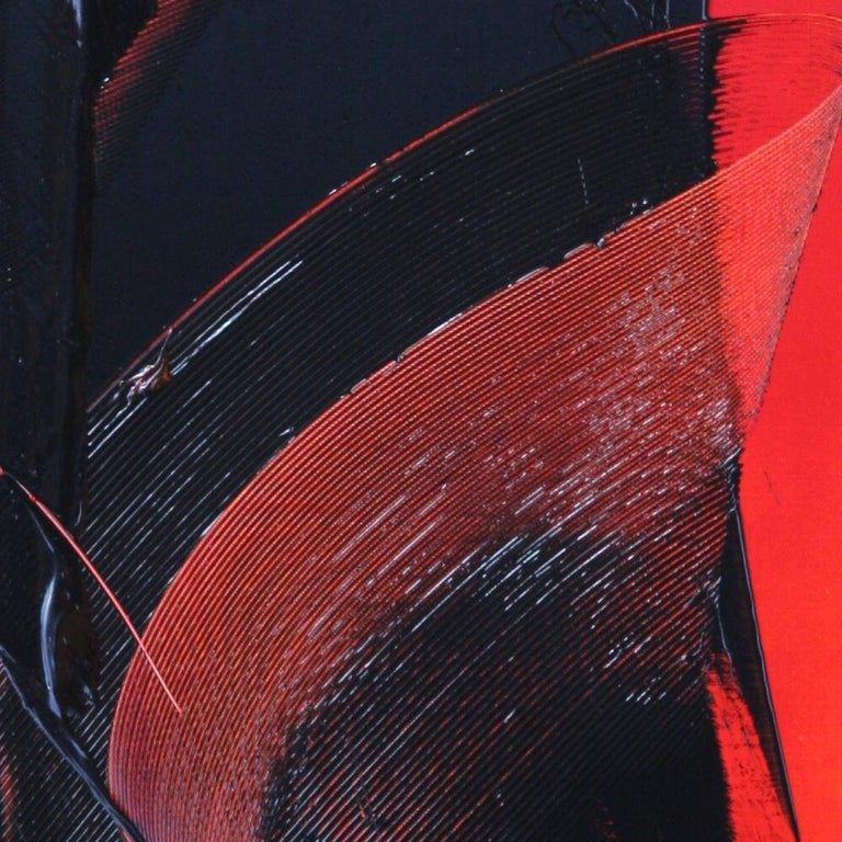 Black on Red Abstract Oil Painting For Sale 5