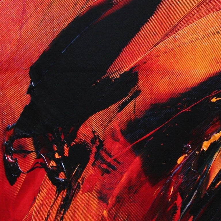 Black on Red Abstract Oil Painting 7