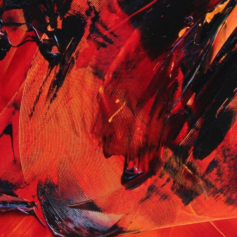 Black on Red Abstract Oil Painting 8