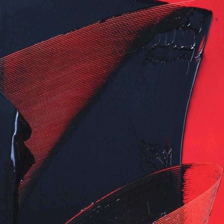 Black on Red Abstract Oil Painting For Sale 7