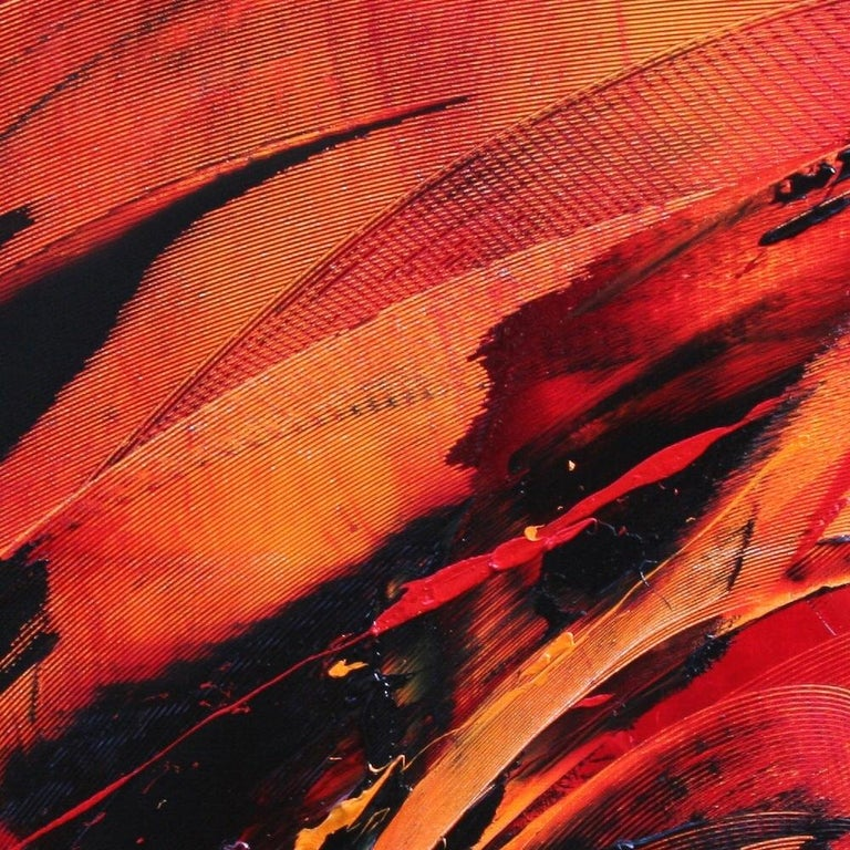 Black on Red Abstract Oil Painting 9