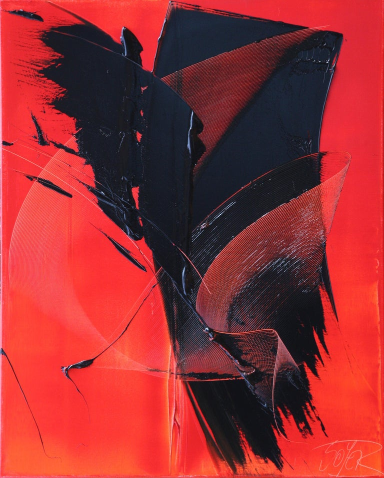 Jean Soyer Abstract Painting - Black on Red Abstract Oil Painting