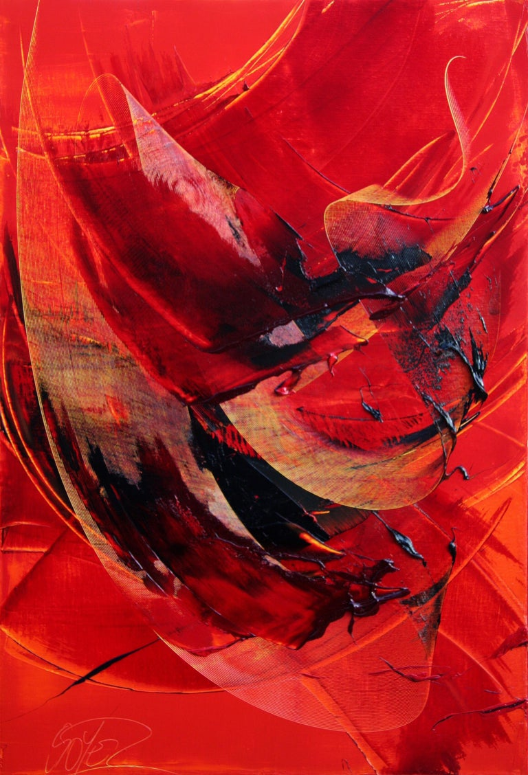 Black on Red Abstract Oil Painting 1