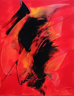 Black on Red Abstract Oil Painting