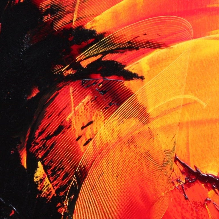 Black on Red and Yellow Abstract Oil Painting For Sale 8