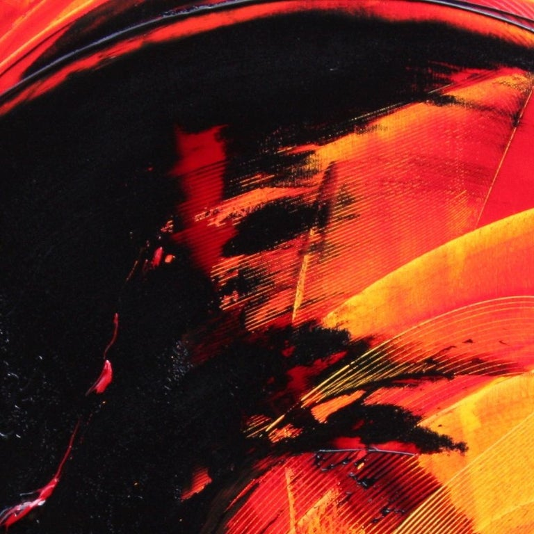 Black on Red and Yellow Abstract Oil Painting For Sale 9
