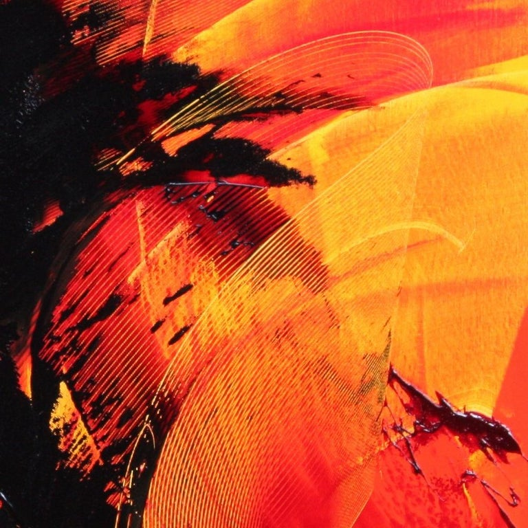 Black on Red and Yellow Abstract Oil Painting For Sale 10