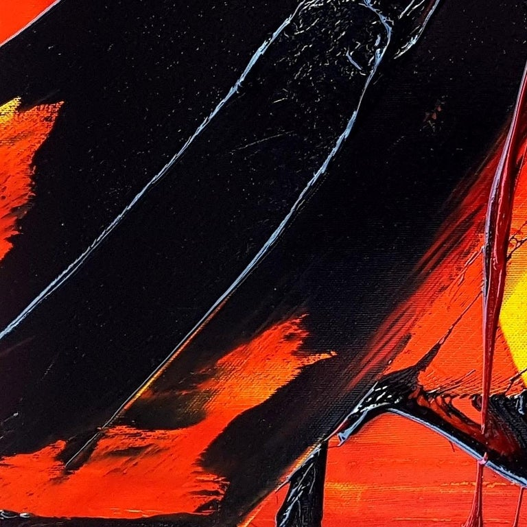 Black on Red and Yellow Abstract Oil Painting For Sale 12