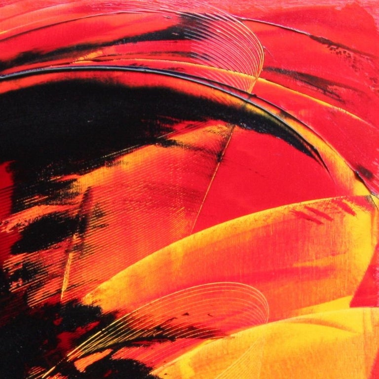 Black on Red and Yellow Abstract Oil Painting For Sale 13