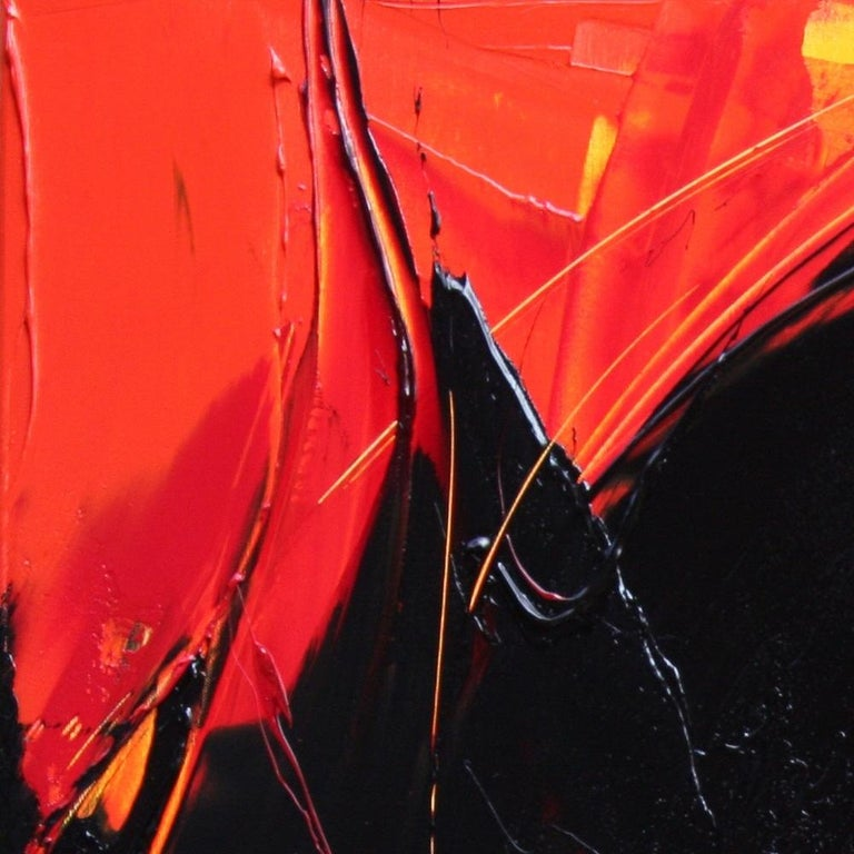 Black on Red and Yellow Abstract Oil Painting For Sale 14