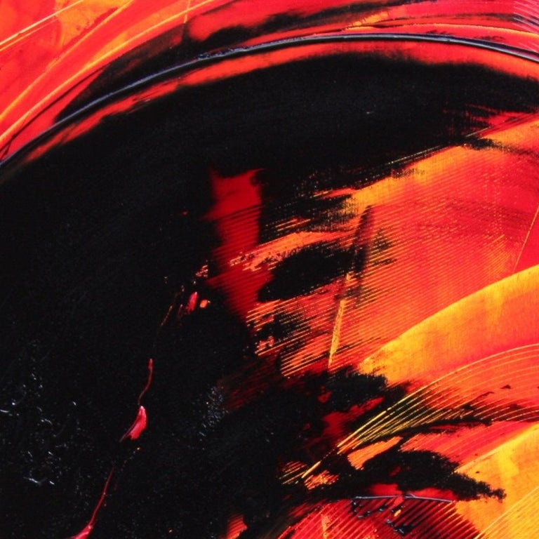 Black on Red and Yellow Abstract Oil Painting For Sale 1