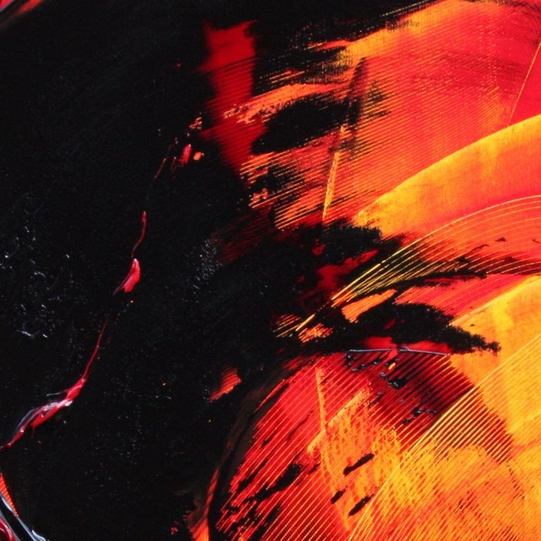 Black on Red and Yellow Abstract Oil Painting For Sale 2
