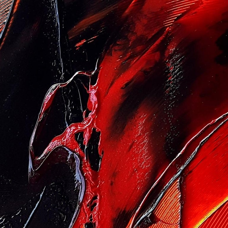 Black on Red and Yellow Abstract Oil Painting For Sale 3