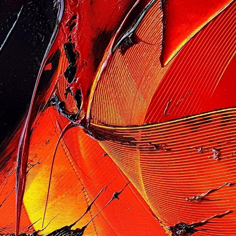Black on Red and Yellow Abstract Oil Painting For Sale 4