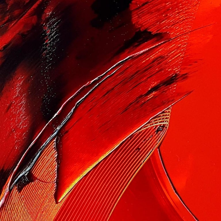 Black on Red and Yellow Abstract Oil Painting For Sale 5