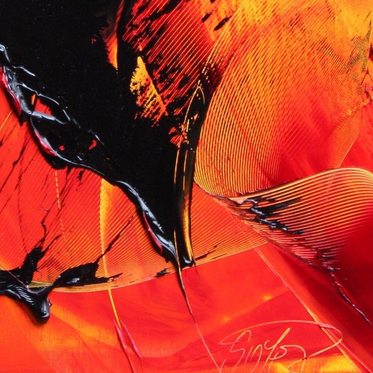 Black on Red and Yellow Abstract Oil Painting For Sale 6
