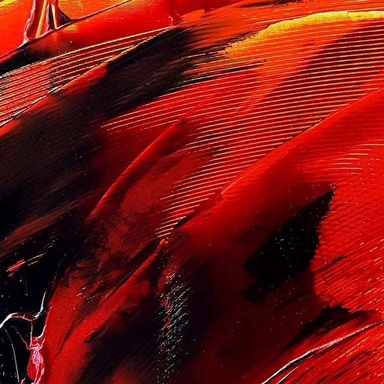 Black on Red and Yellow Abstract Oil Painting For Sale 7