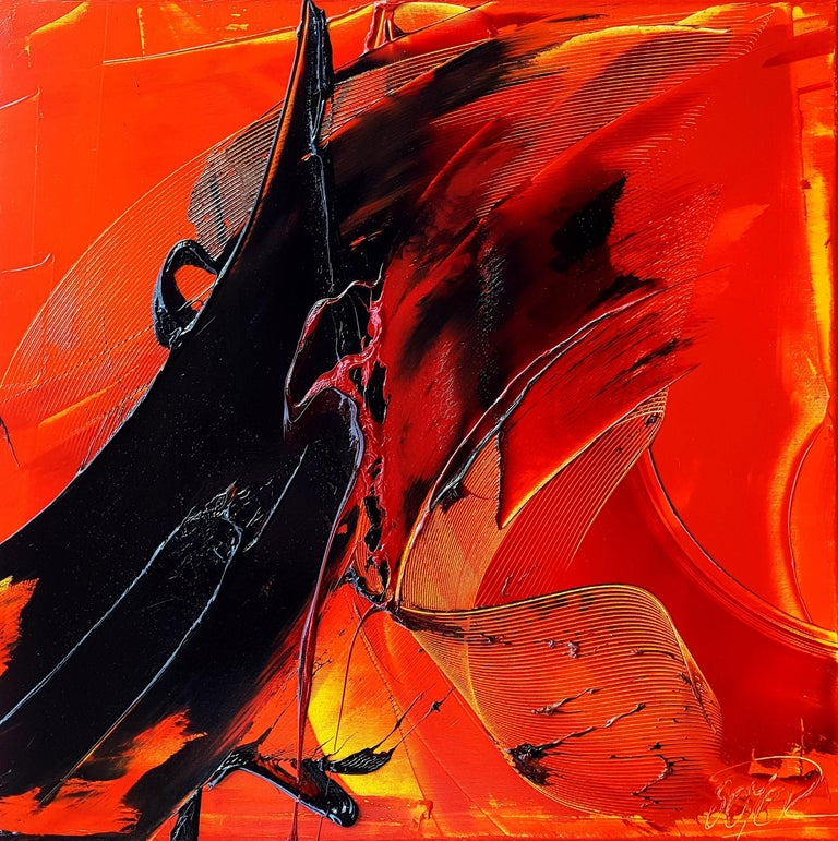 Jean Soyer Abstract Painting - Black on Red and Yellow Abstract Oil Painting