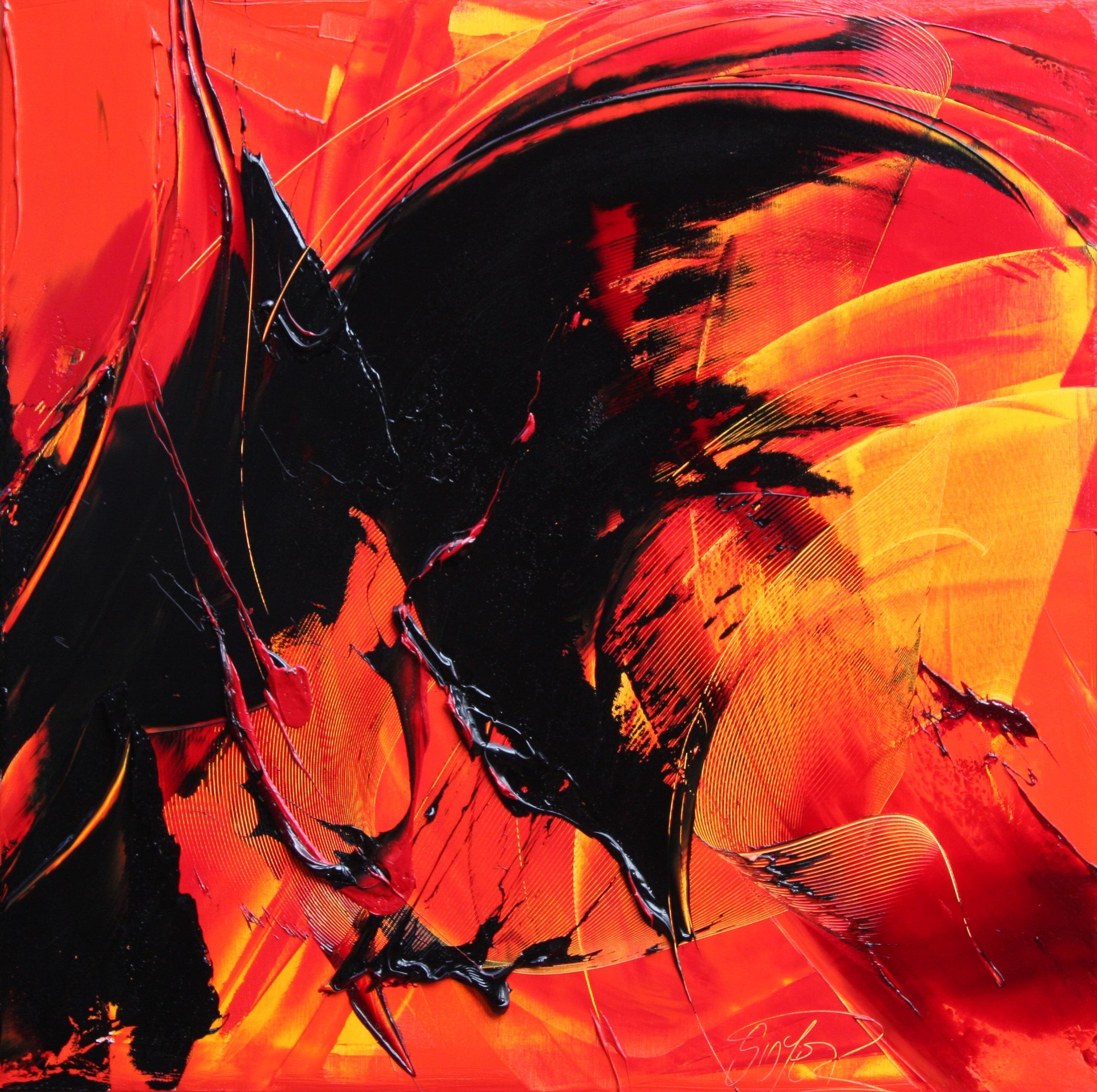 Black on Red and Yellow Abstract Oil Painting