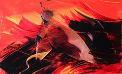 Black on Red and Yellow Gestural Abstract Oil Painting
