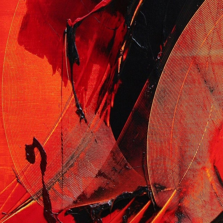 Black on Red Gestural Abstract Oil Painting 10