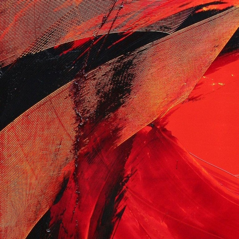 Black on Red Gestural Abstract Oil Painting 11