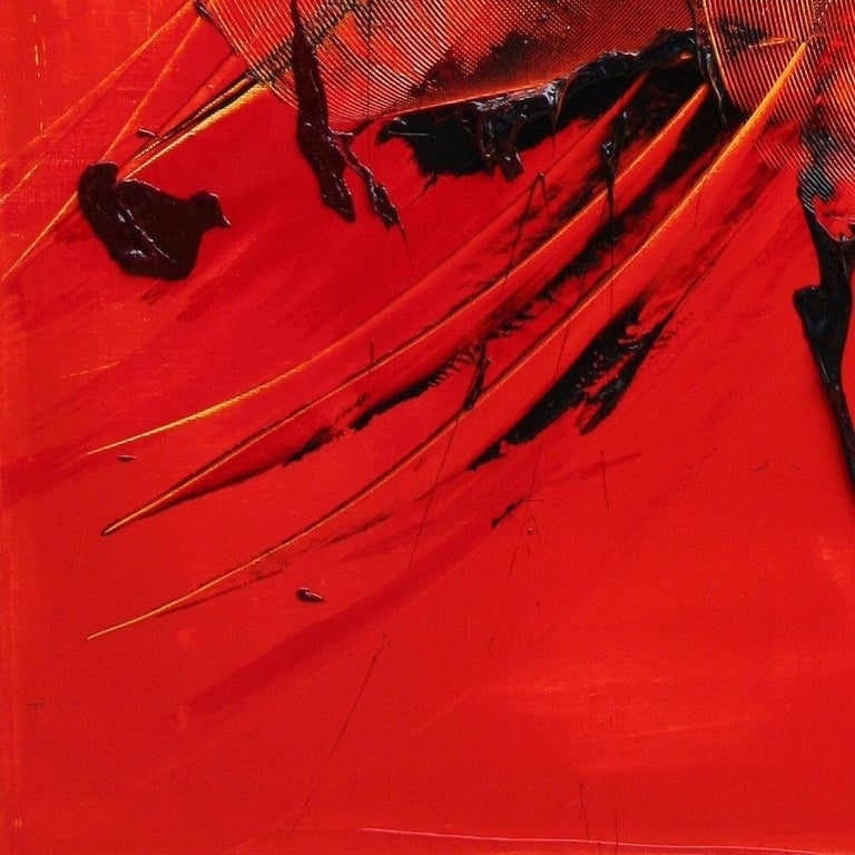 Black on Red Gestural Abstract Oil Painting 13